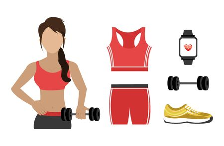 woman with set icons fitness vector illustration design