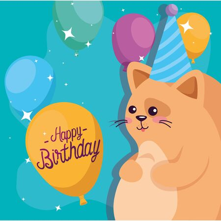 Cat cartoon design, happy birthday celebration decoration party festive and surprise theme Vector illustration