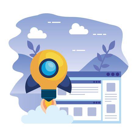 bulb light rocket start up with template webpage vector illustration design 向量圖像