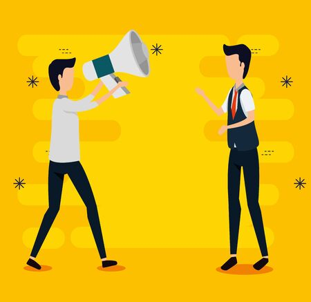 professional businessmen with elegant clothes and megaphone to social plan, vector illustration