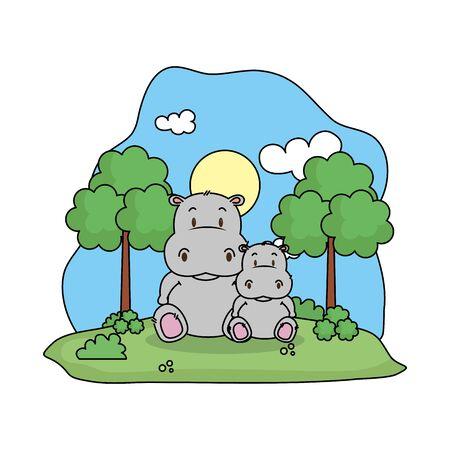 cute hippo family in the landscape vector illustration design Ilustracja