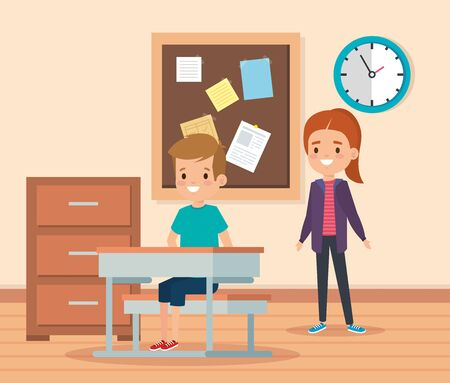 girl and boy children in the academic classroom with desk and note board vector illustration Illustration