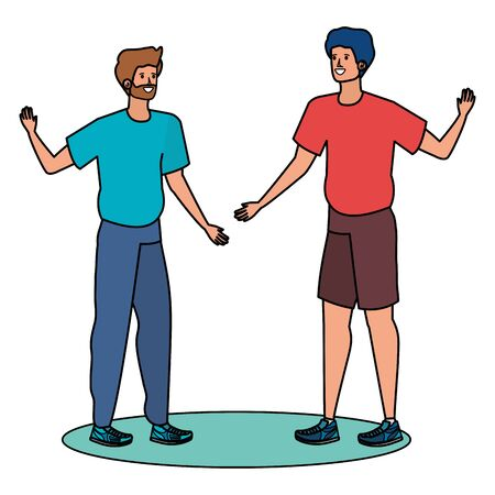 happy young men friends celebrating characters vector illustration design