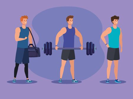 set of fitness men with bag and weight to exercise over puple background, vector illustration