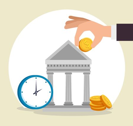 hand with coins and bank strategy with clock over gray background, vector illustration
