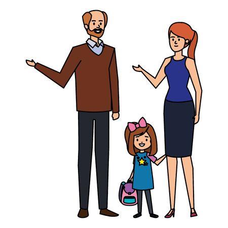 happy student girl with couple teachers vector illustration design Ilustracja