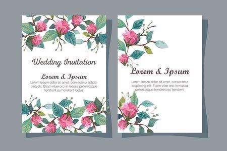 Stellen Sie Hochzeitseinladungskarten mit Blumendekorationsvektorillustrationsdesign ein