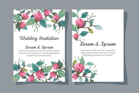 ustawić zaproszenia ślubne z kwiatami dekoracji ilustracji wektorowych projektowania