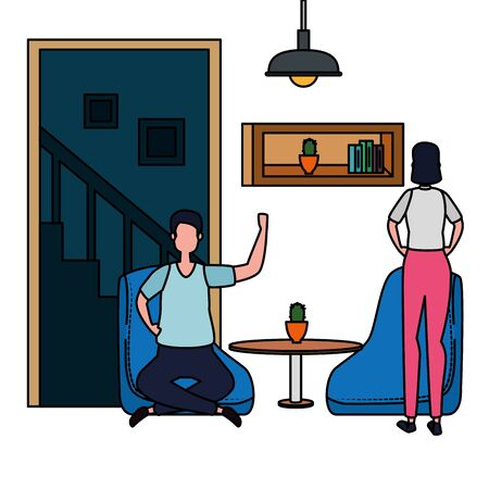 couple in living room place scene vector illustration design