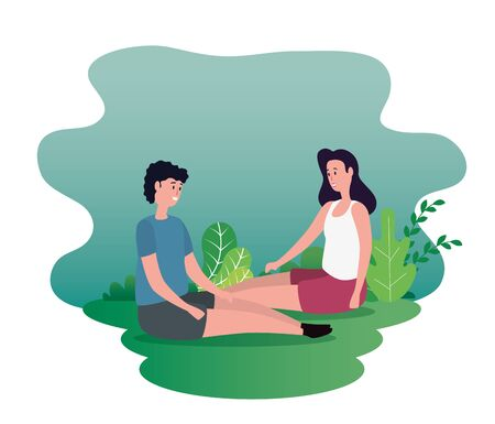 woman and man couple sitting together with bushes plants, vector illustration