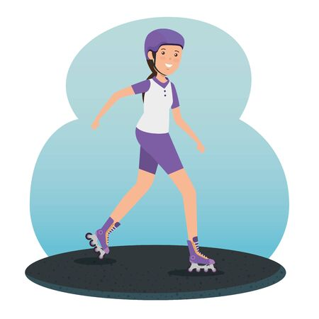 girl training roller skates fitness activity to summer sport vector illustration