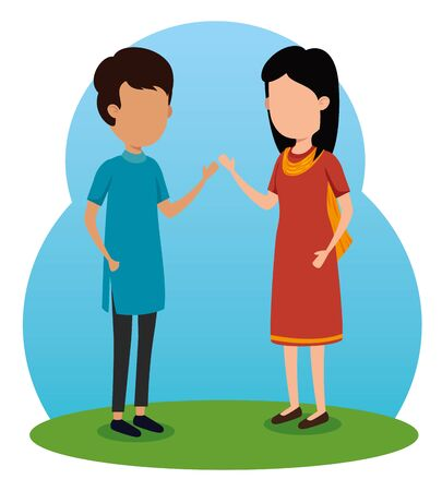 boy and girl siblings hindu tradition to raksha bandhan, vector illustration