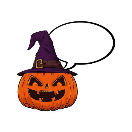 halloween pumpkin with hat witch and speech bubble pop art style vector illustration design