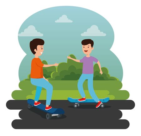 boys playing skateboard style in the park with bushes plants vector illustration