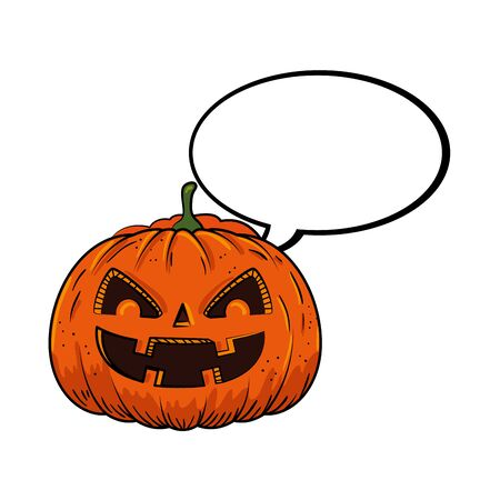 halloween pumpkin with speech bubble pop art style vector illustration design Illusztráció