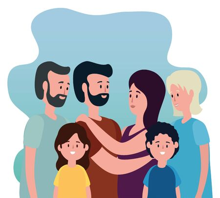 old woman and man with their granddaughter and grandson with their father and mother to family together, vector illustration Çizim