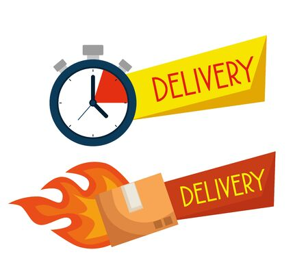 delivery chronometer with box packages service to distribution vector illustration
