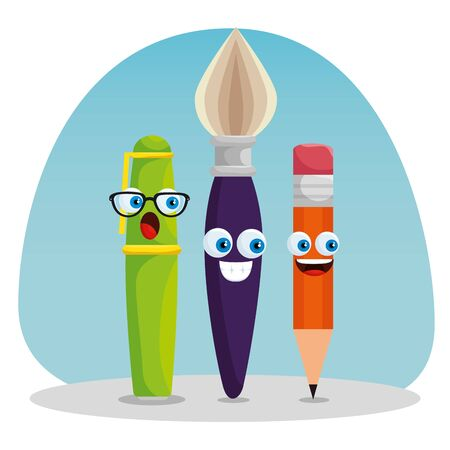 pen with brushpaint and pencil kawaii supplies to back to school vector illustration