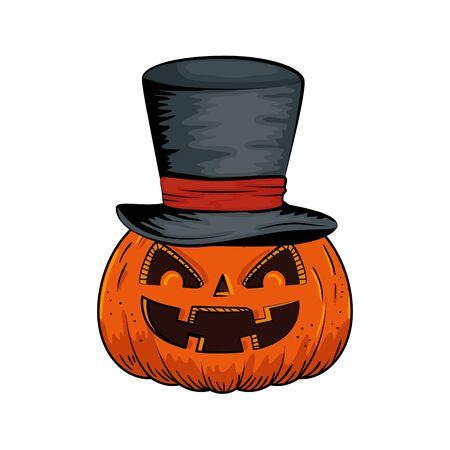 halloween pumpkin with hat wizard style pop art vector illustration design