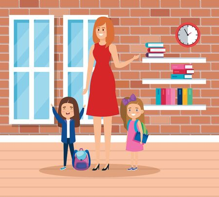 female teacher with students girls in the school scene vector illustration design