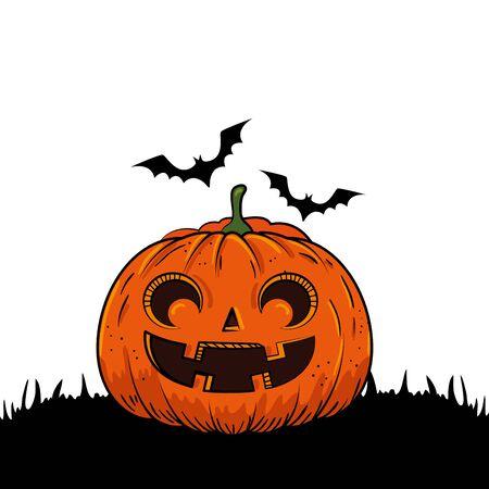 halloween pumpkin with bats flying pop art style vector illustration design
