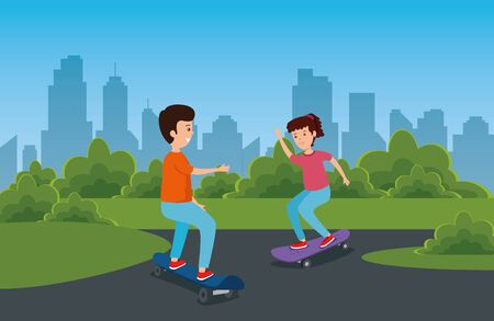 boy and girl playing skateboard sport in the park with bushes vector illustration 向量圖像