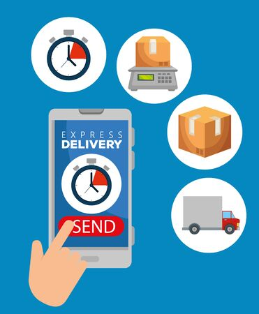 hand with smartphone and chronometer with box in the weighing machine to delivery service vector illustration Çizim