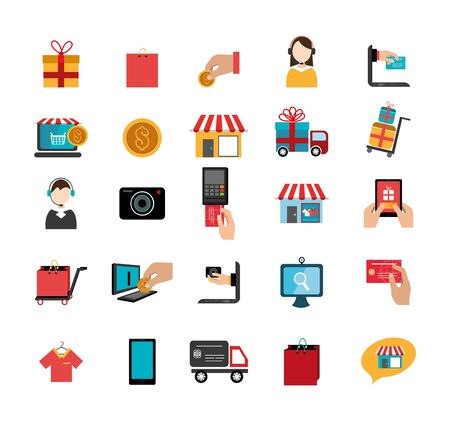 bundle of ecommerce with set icons vector illustration design