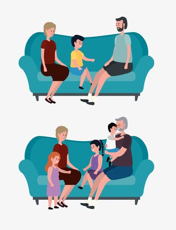 set of old women and men with thirs grandson and granddaughter over white background, vector illustration