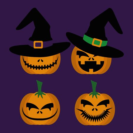 halloween set pumpkins with hat witch vector illustration design Çizim