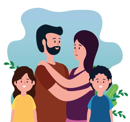 woman and man together with their daughter and son with plants leaves, vector illustration Çizim