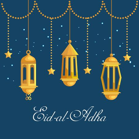 lamps and stars hanging traditional decoration to eid al adha, vector illustration