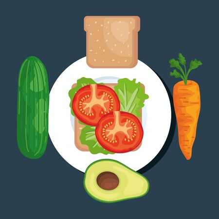 salad with cucumber and wholemeal bread with carrot and avocado to healthy food vector illustration
