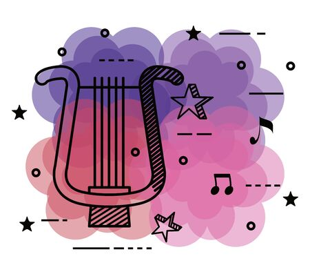 harp instrument with quaver and beam notes to music melody vector illustration Ilustrace