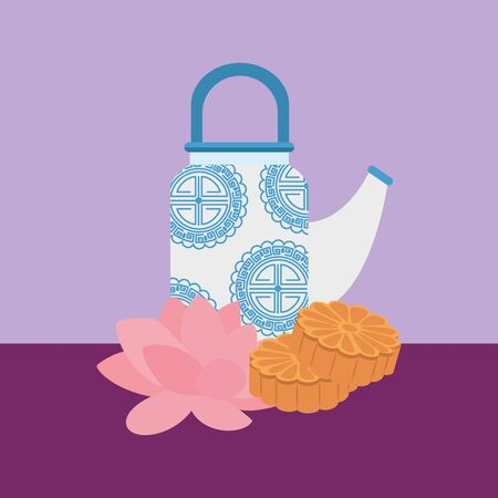 chinese teapot with flowers lotus and wooden vector illustration design