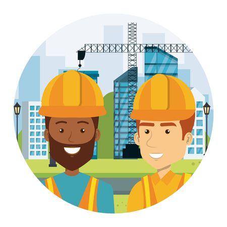 interracial builders constructors on workside characters vector illustration design 일러스트