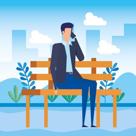 businessman calling with smartphone seated in the park chair vector illustration Ilustración de vector