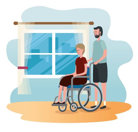 old woman in the wheelchair and her husband with casual clothes to family together, vector illustration Çizim