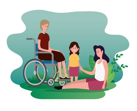 old woman in the wheelchair with her daughter and granddaughter to family together, vector illustration