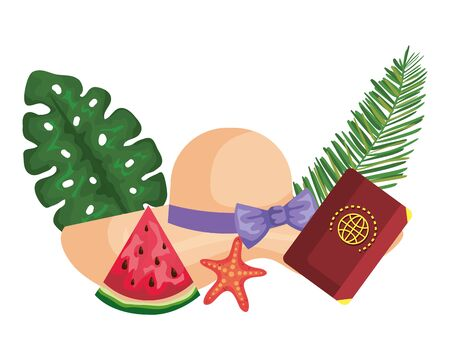 summer hat straw with palms and passport vector illustration design