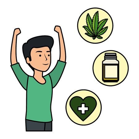 man with cannabis set icons vector illustration design