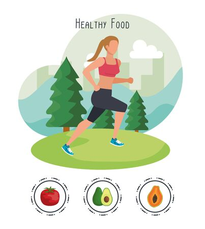 woman running with tomato and avocado with pawpaw to healthy food, vector illustration