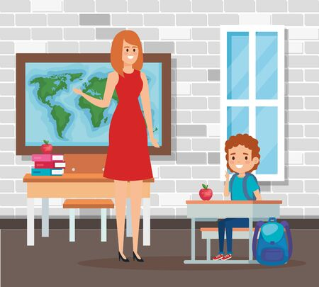 female teacher with student boy in the school scene vector illustration design Ilustracja