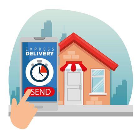 hand with smartphone and chronometer with house distribution to delivery service vector illustration