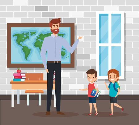 male teacher with students in the school scene vector illustration design Ilustracja