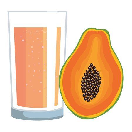 papaya juice fruit with glass vector illustration design Illusztráció