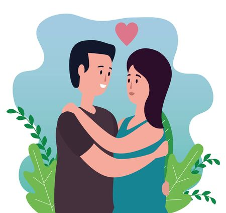 woman and man in love couple with heart and plants leaves, vector illustration
