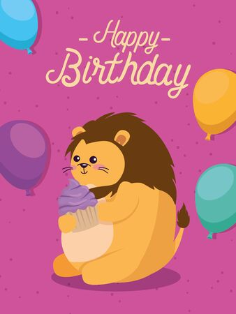lion cute animalwith muffin and balloons to happy birthday, vector illustration