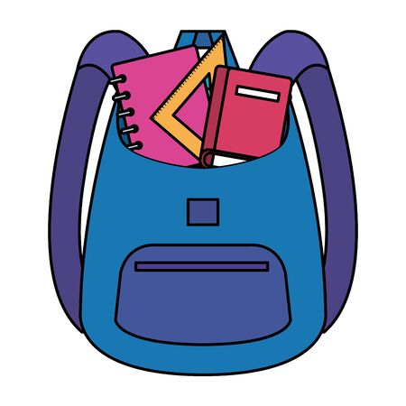 school bag supply with books and rule vector illustration design Imagens - 135402377