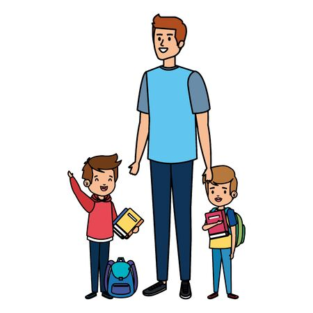 happy students boys with male teacher vector illustration design Ilustracja